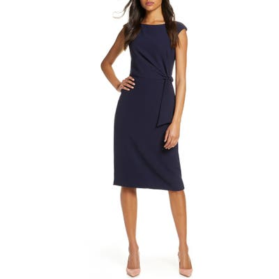 Tahari Cap Sleeve Crepe Sheath Dress, Blue