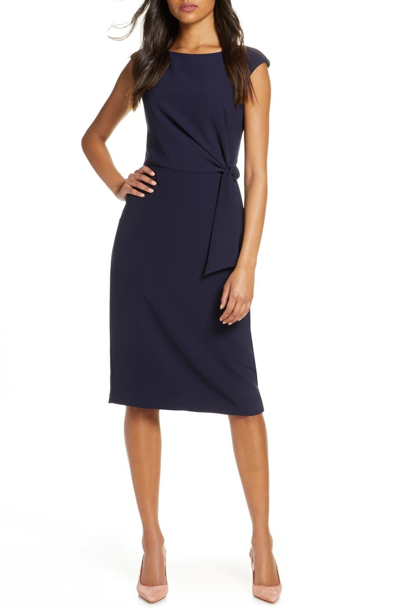 TAHARI Cap Sleeve Crepe Sheath Dress, Main, color, NAVY