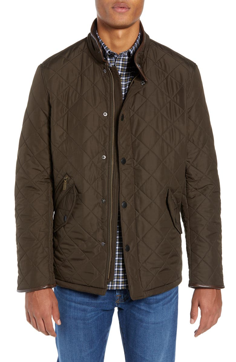 BARBOUR 'Powell' Regular Fit Quilted Jacket, Main, color, OLIVE