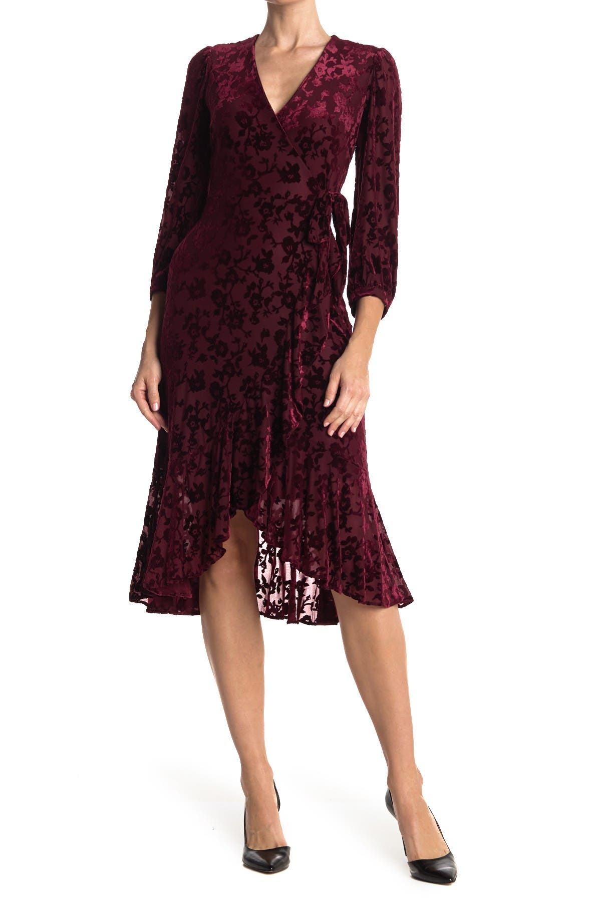Image of Calvin Klein Velvet Burnout Floral Midi Flutter Wrap Front Dress