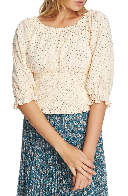 1.state Tops SCATTER DOT SMOCKED WAIST TOP