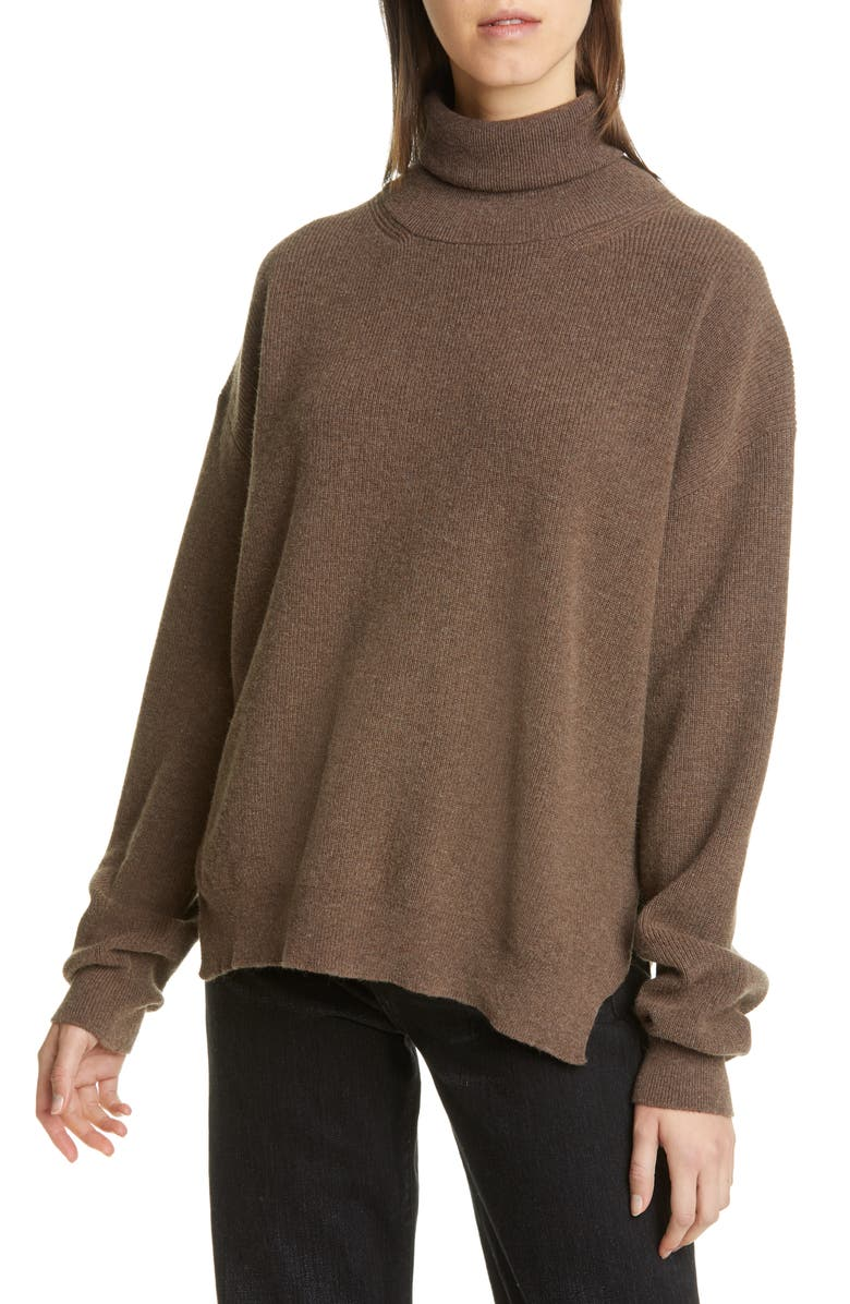 NANUSHKA Monday Merino Wool & Cashmere Blend Sweater, Main, color, DARK BROWN