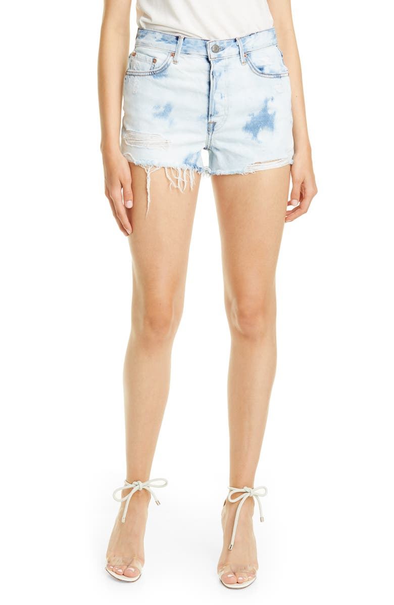 GRLFRND Cindy Bleached Denim Shorts, Main, color, NEVERMIND
