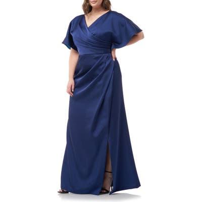Plus Size Js Collections Faux Wrap Bonded Satin Gown, Blue