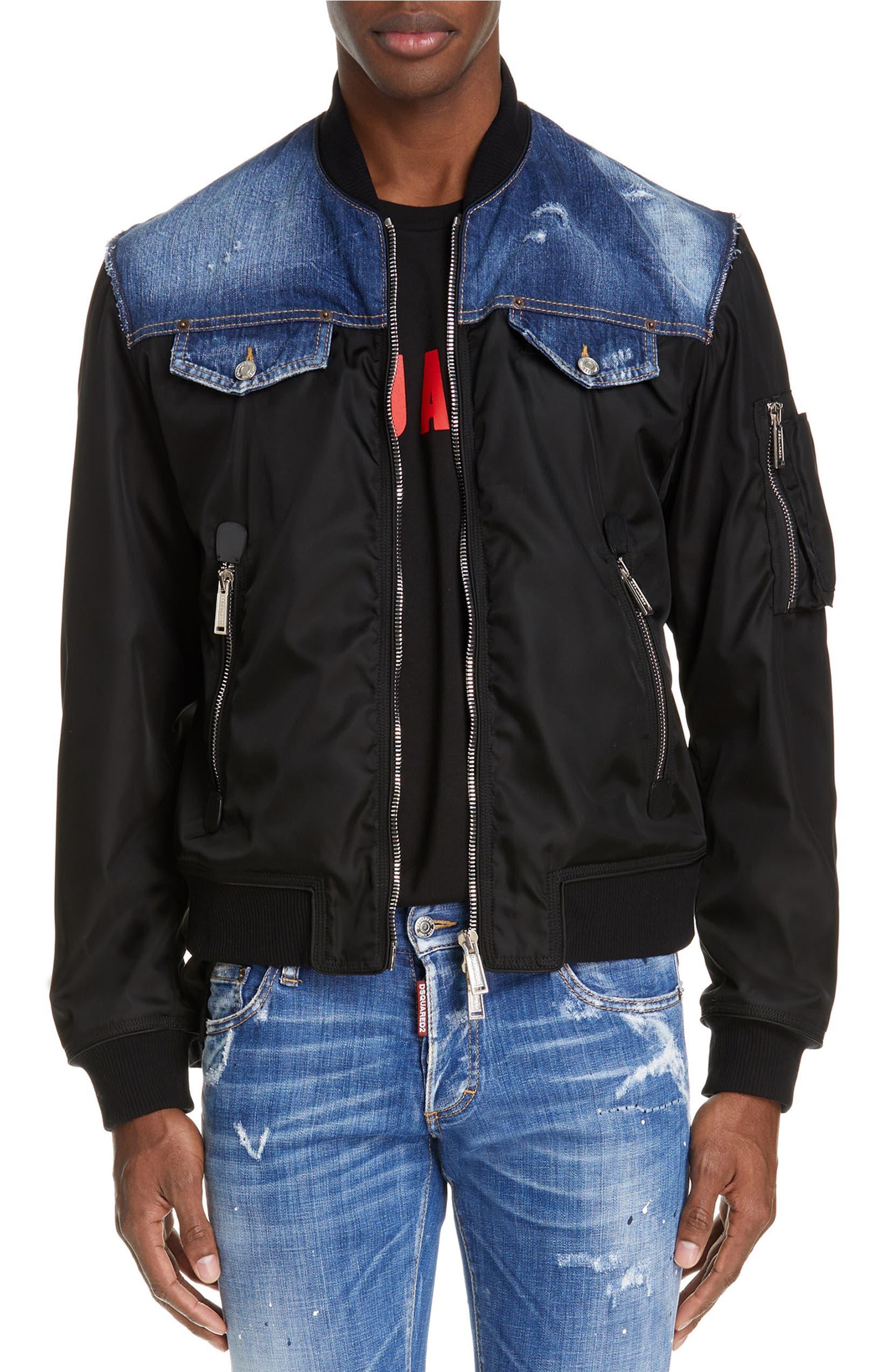 30613470b Dsquared2 Nylon Bomber Jacket with Denim Yokes (Regular Retail Price ...