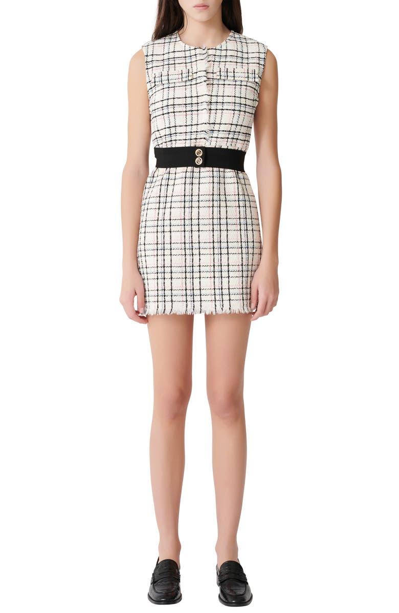 MAJE Rianey Cotton Blend Tweed Sleeveless Dress, Main, color, ECRU