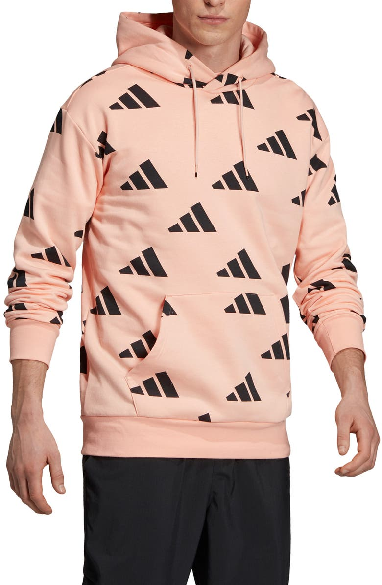 ADIDAS Athletics Pack Allover Print Hoodie, Main, color, GLOW PINK/ BLACK