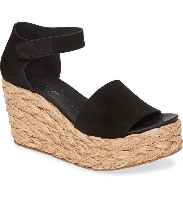 PEDRO GARCIA Dory Raffia Wedge Sandal, Main, color, BLACK CASTORO