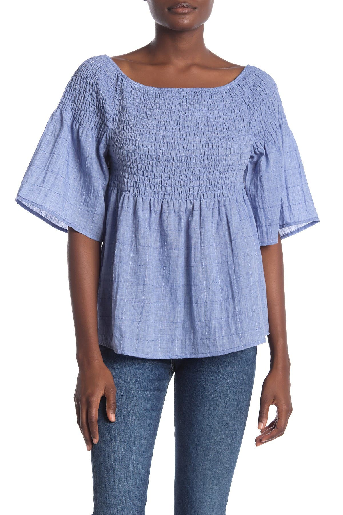 Image of Liverpool Jeans Co Smocked Peasant Top