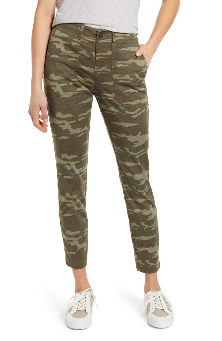 CASLON<SUP>®</SUP> Crop Utility Pants, Main, color, OLIVE LICHEN CAMO PRINT