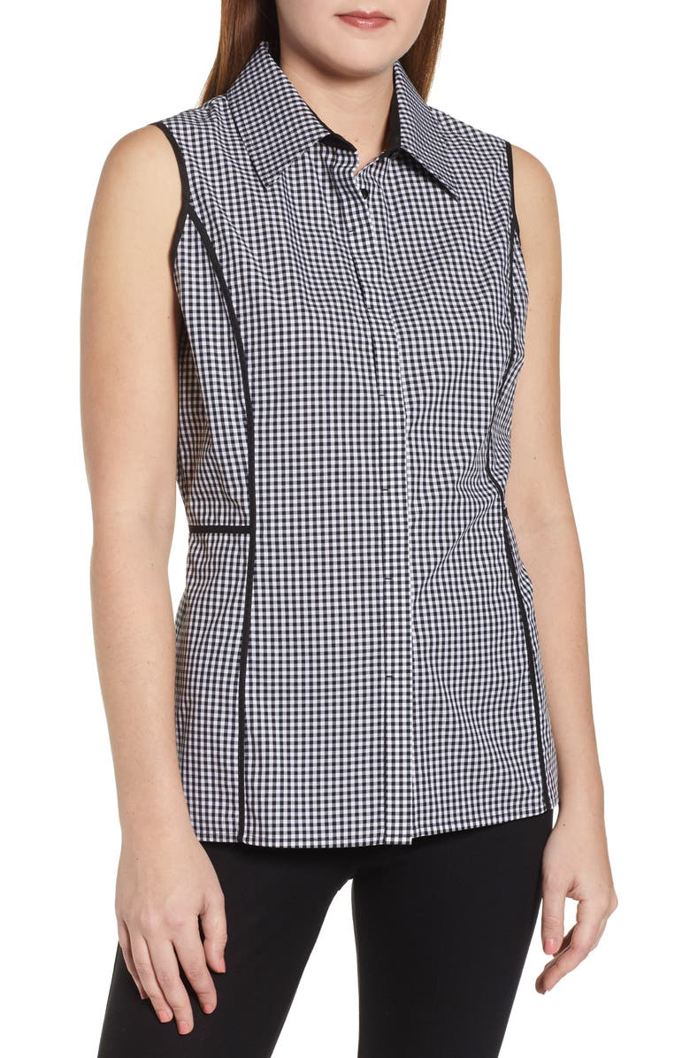 MING WANG Gingham Blouse, Main, color, BLACK/ WHITE