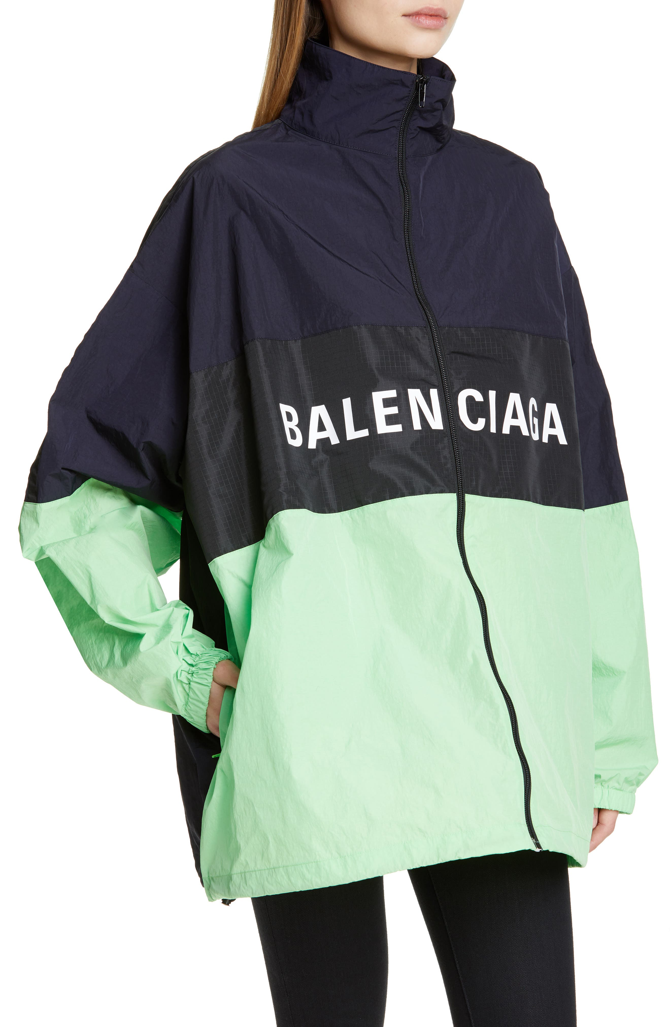 ,                             Logo Colorblock Windbreaker Jacket,                             Alternate thumbnail 4, color,                             FLUO GREEN