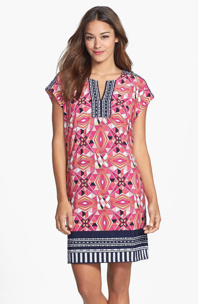 LAUNDRY BY SHELLI SEGAL Print Extended Shoulder Shift Dress, Main, color, 600
