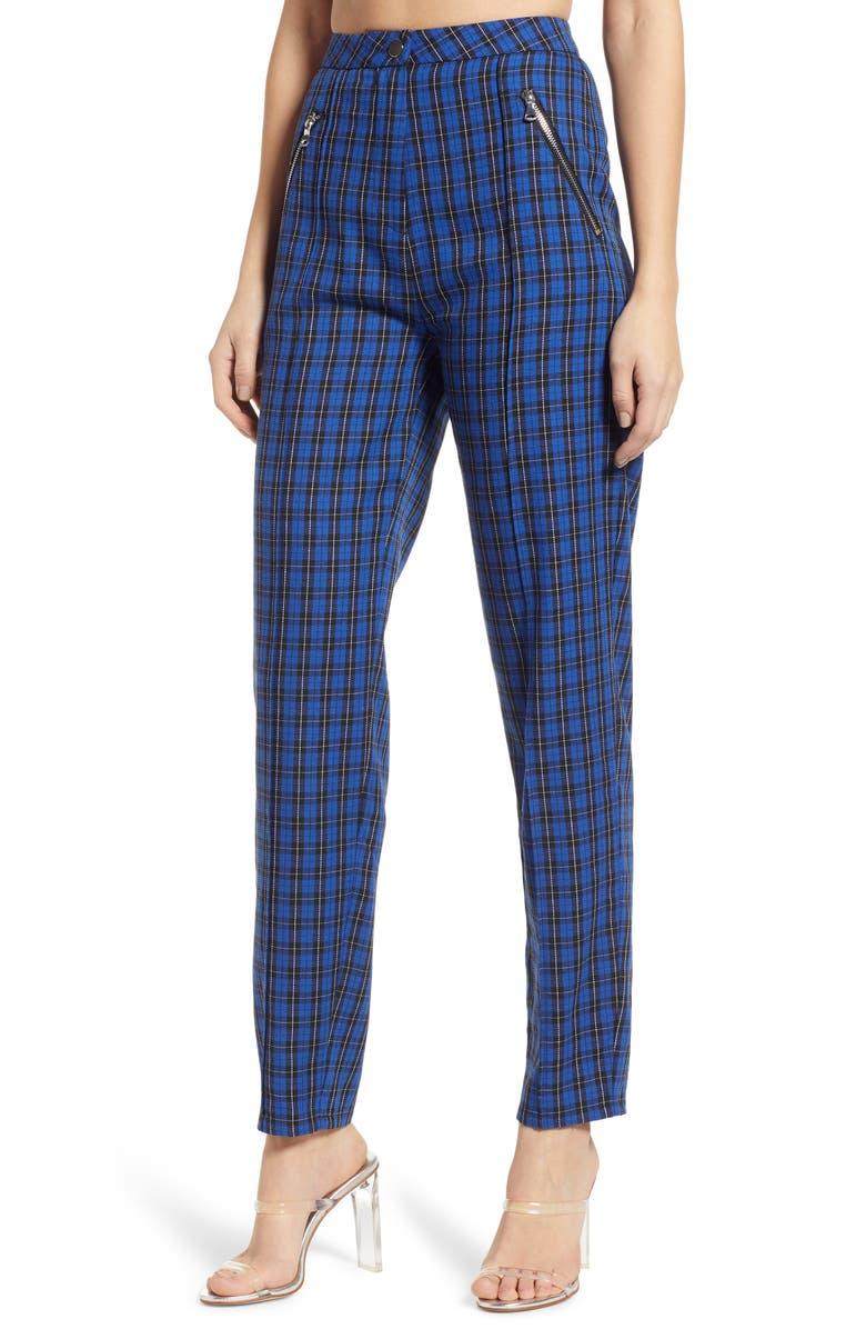 TIGER MIST Plaid High Waist Skinny Pants, Main, color, 400