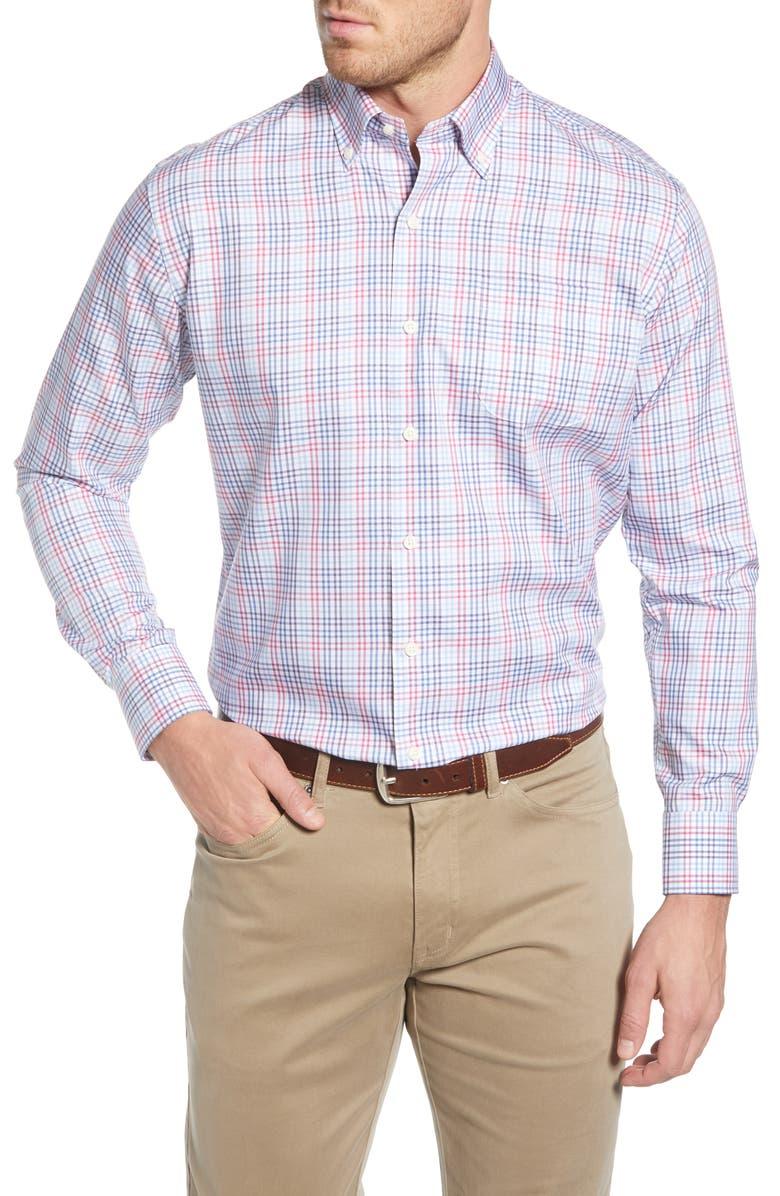 PETER MILLAR Crown Regular Fit Plaid Button-Down Sport Shirt, Main, color, MOON BLUE