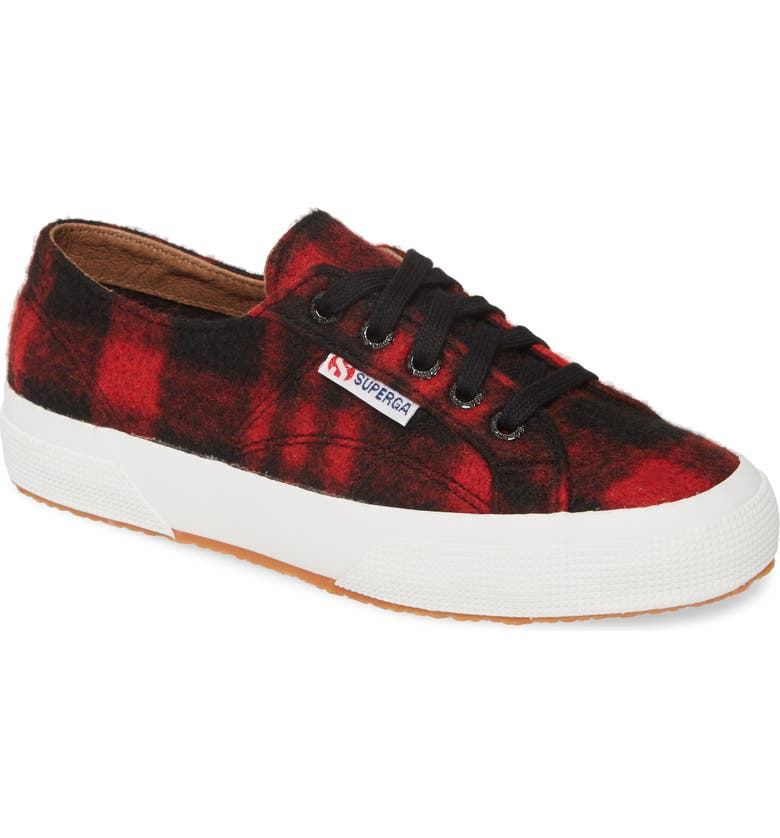 SUPERGA 2750 Shepherdwool Sneaker, Main, color, RED / BLACK