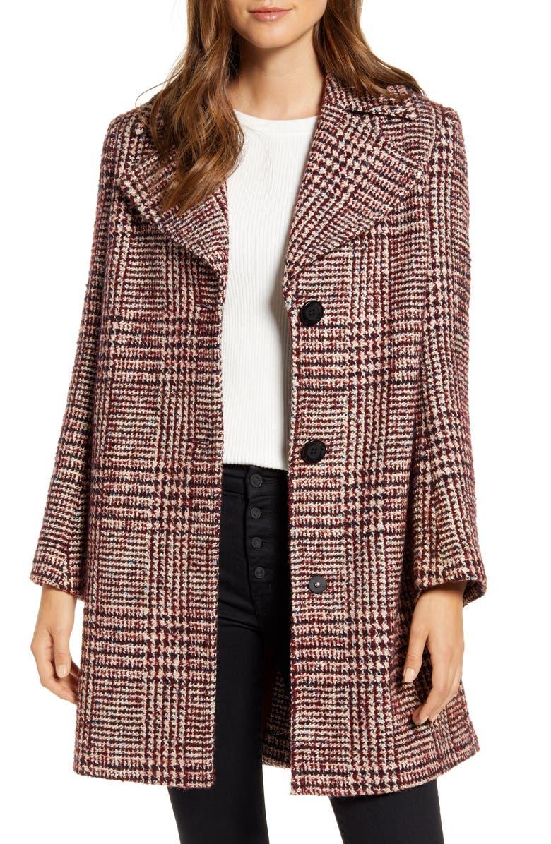 SAM EDELMAN Grid Plaid Pleat Back Wool Blend Coat, Main, color, 930