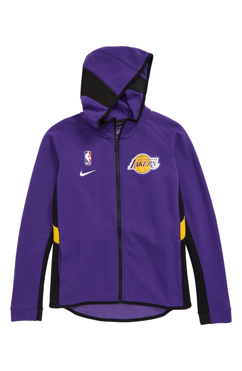 NIKE NBA Los Angeles Lakers Dry Zip-Up Hoodie, Main, color, COURT PURPLE
