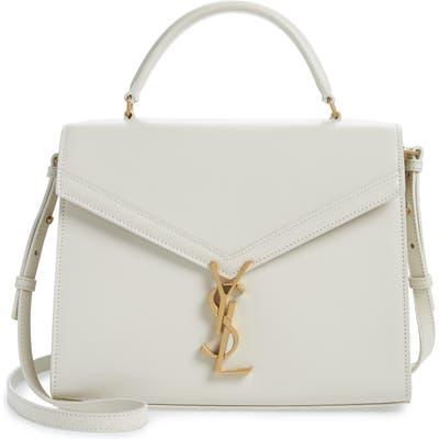 Saint Laurent Medium Cassandra Calfskin Leather Satchel - Ivory