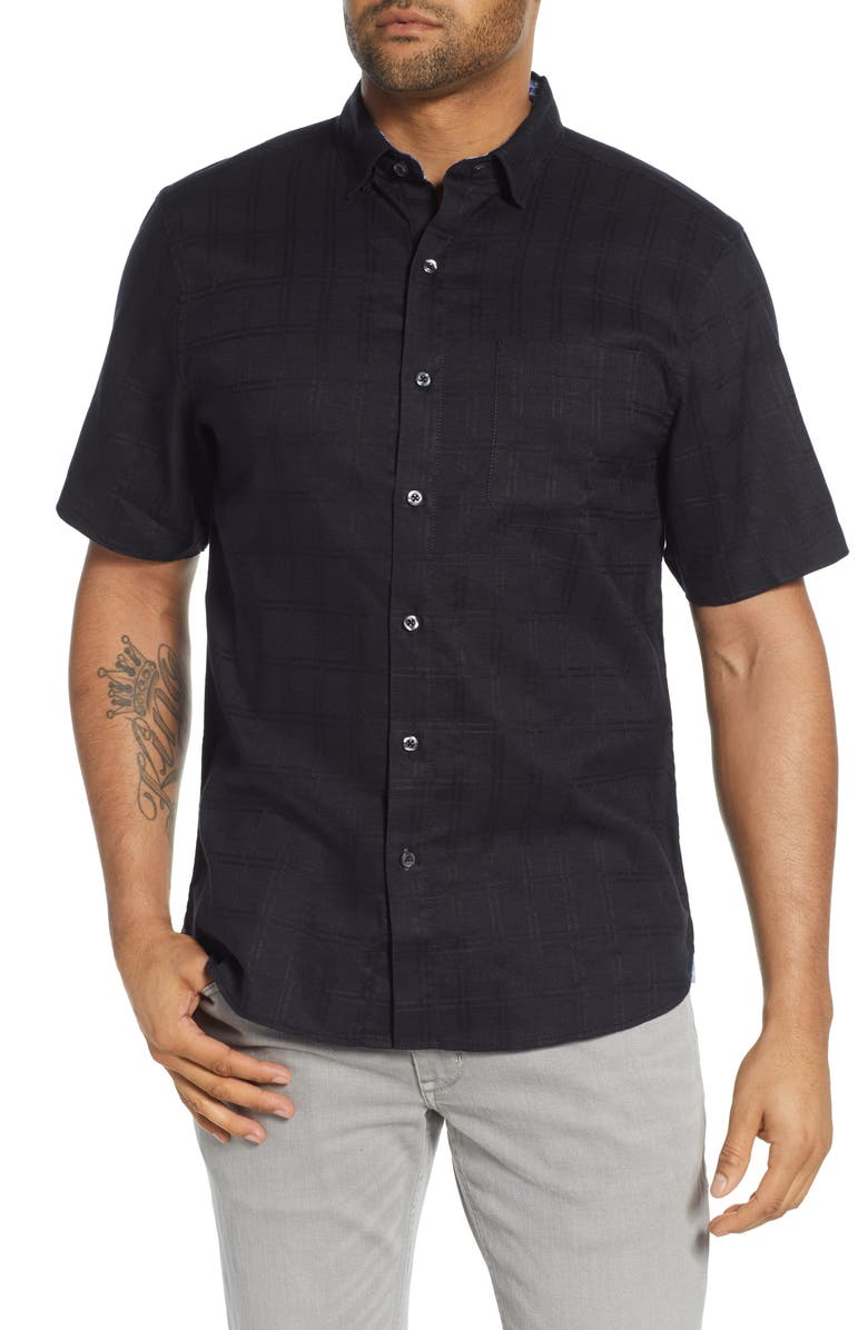 TOMMY BAHAMA Costa Capri Classic Fit Short Sleeve Linen Blend Button-Up Shirt, Main, color, 001