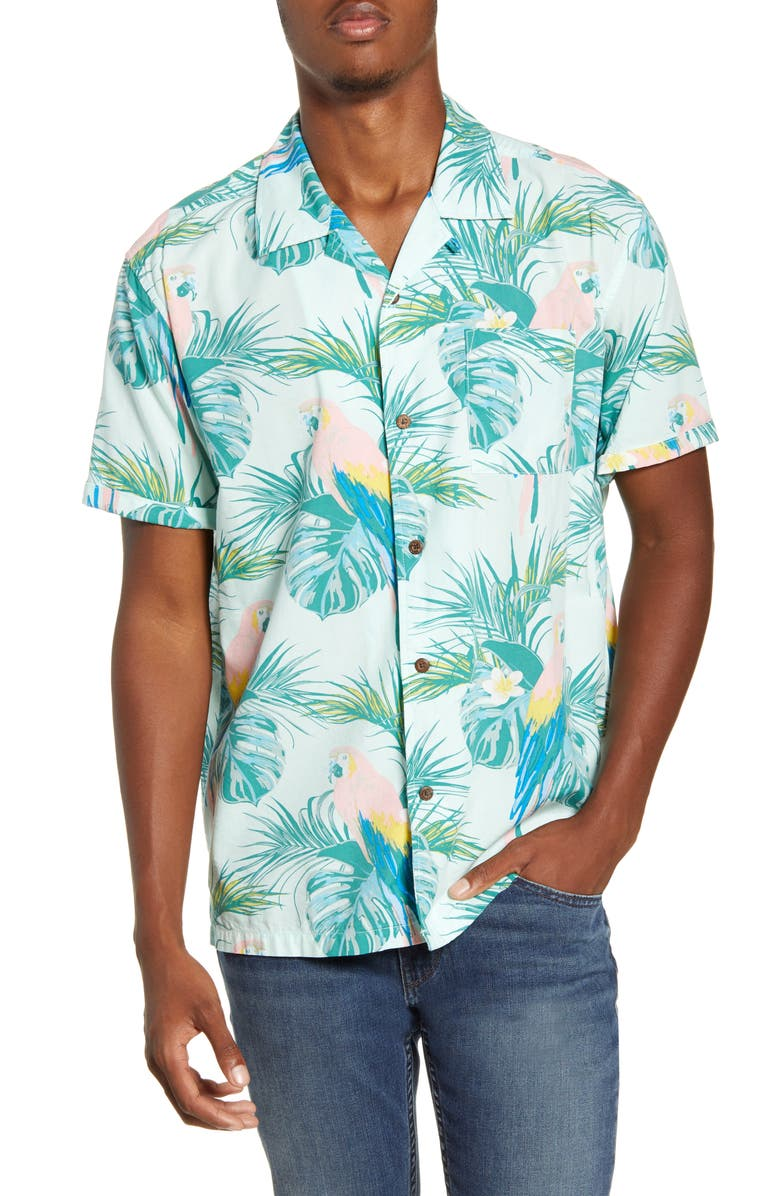 HURLEY Sierra Short Sleeve Button-Up Camp Shirt, Main, color, JADE AURA
