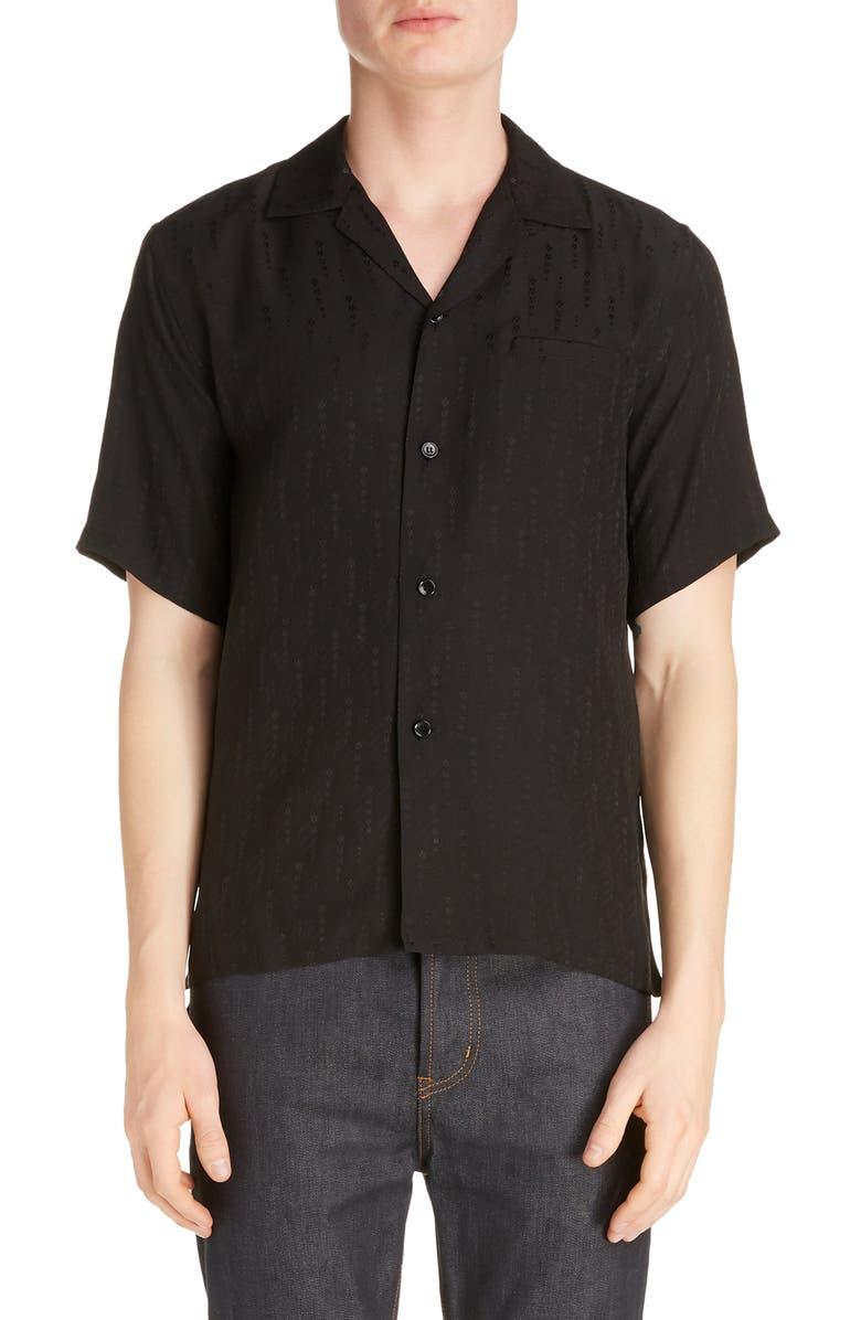 SAINT LAURENT Silk Button-Up Camp Shirt, Main, color, BLACK
