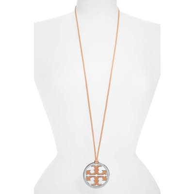Tory Burch Logo Charm Leather Cord Necklace