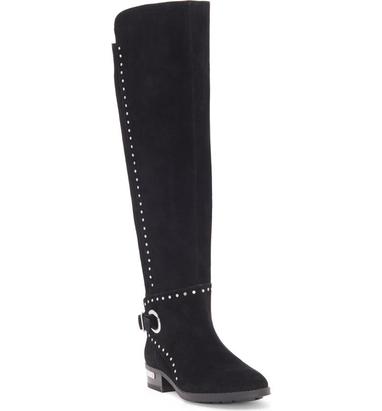 VINCE CAMUTO Poppidal Knee High Riding Boot, Main, color, BLACK SUEDE