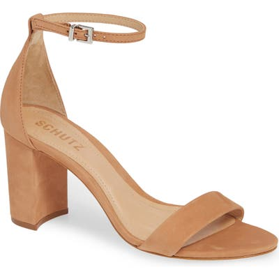 Schutz Anna Lee Ankle Strap Sandal- Brown