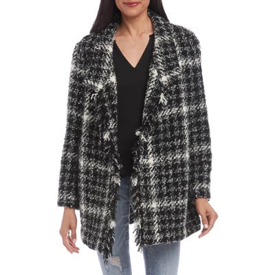 Karen Kane Fringe Detail Boucle Coat, Black