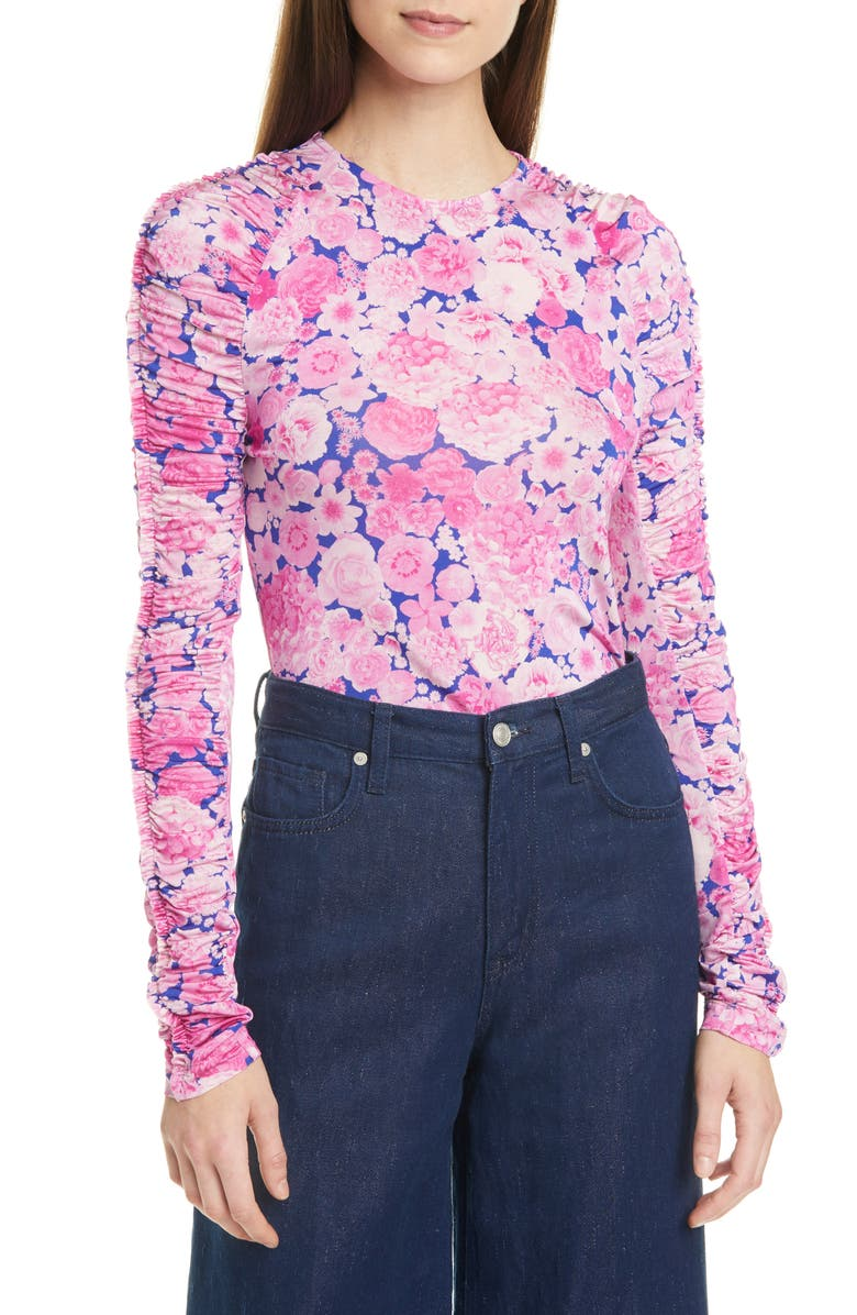 STINE GOYA Carlin Floral Ruched Ruffle Long Sleeve Top, Main, color, 655