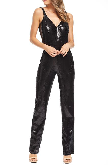 Image of Dress the Population Lee Sequin Button Back Jumpsuit