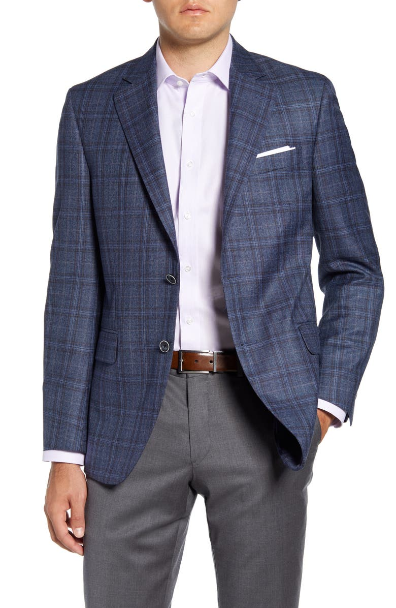 PETER MILLAR Flynn Classic Fit Plaid Wool Sport Coat, Main, color, BLUE