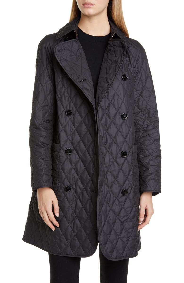 BURBERRY Tything Quilted Double Breasted Coat, Main, color, BLACK