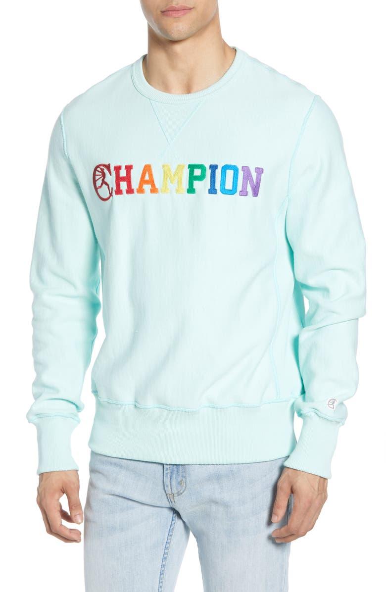 TODD SNYDER + CHAMPION Straight Across Pride Logo Sweatshirt, Main, color, MINTY GREEN