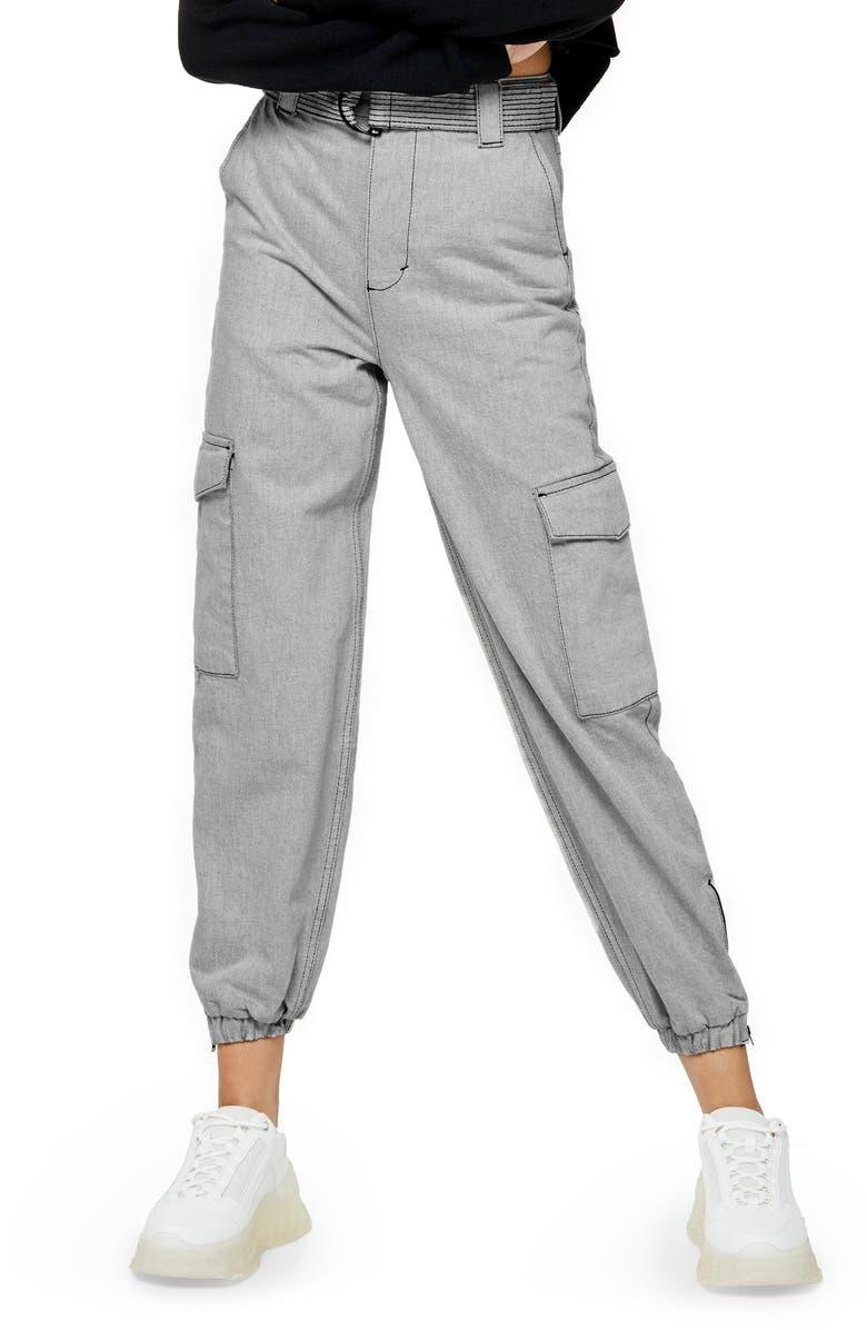 TOPSHOP Judo Cargo Jogger Pants, Main, color, GREY