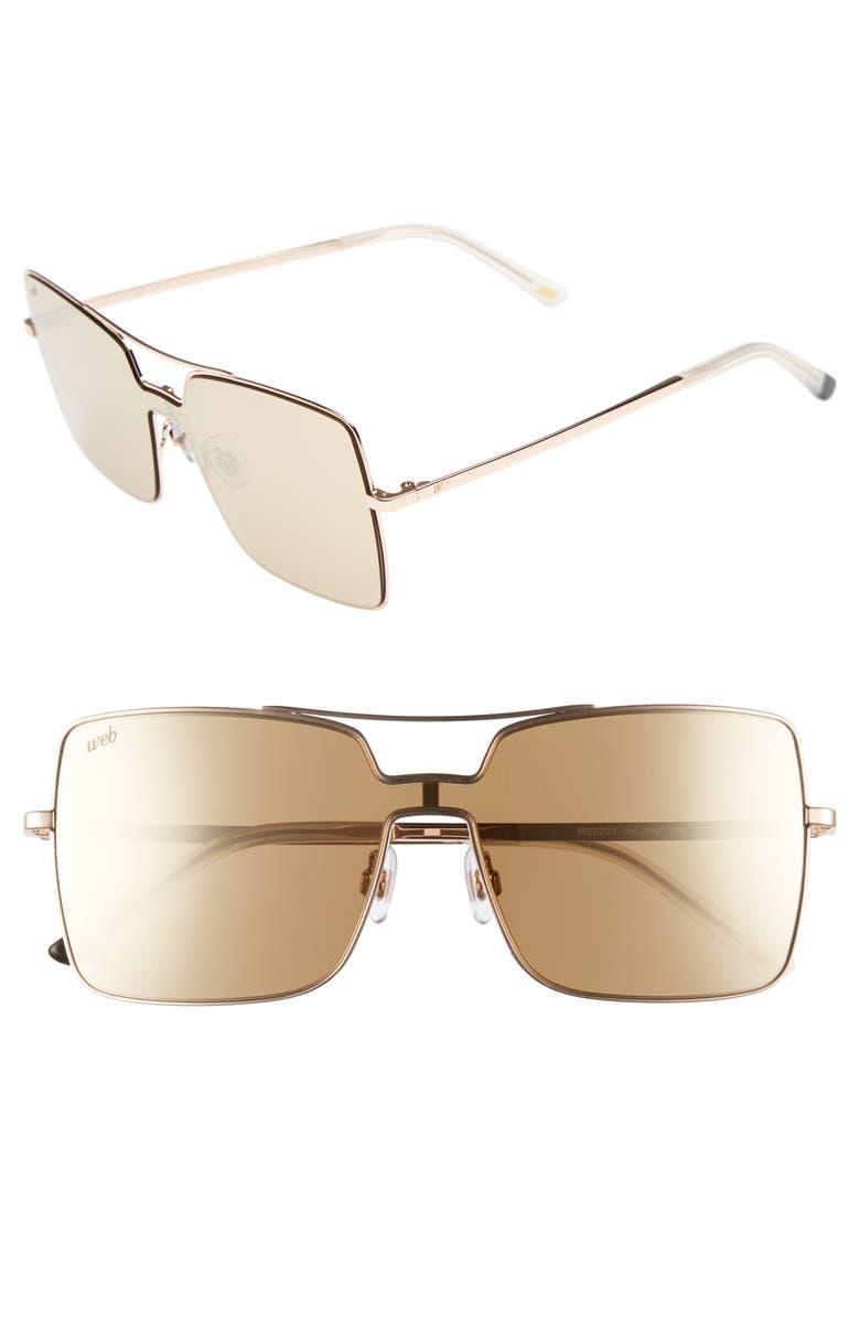 WEB 55mm Square Metal Shield Sunglasses, Main, color, ROSE GOLD/ BROWN