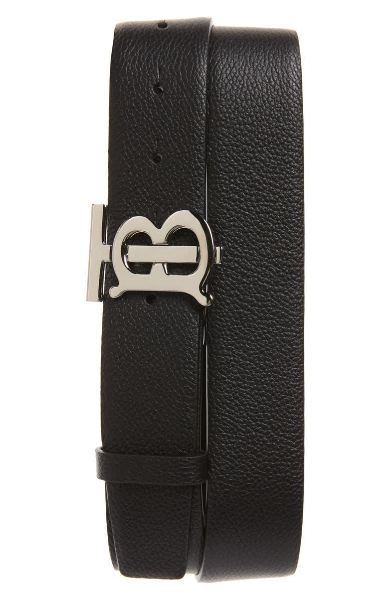 BURBERRY TB Monogram Leather Belt, Main, color, BLACK