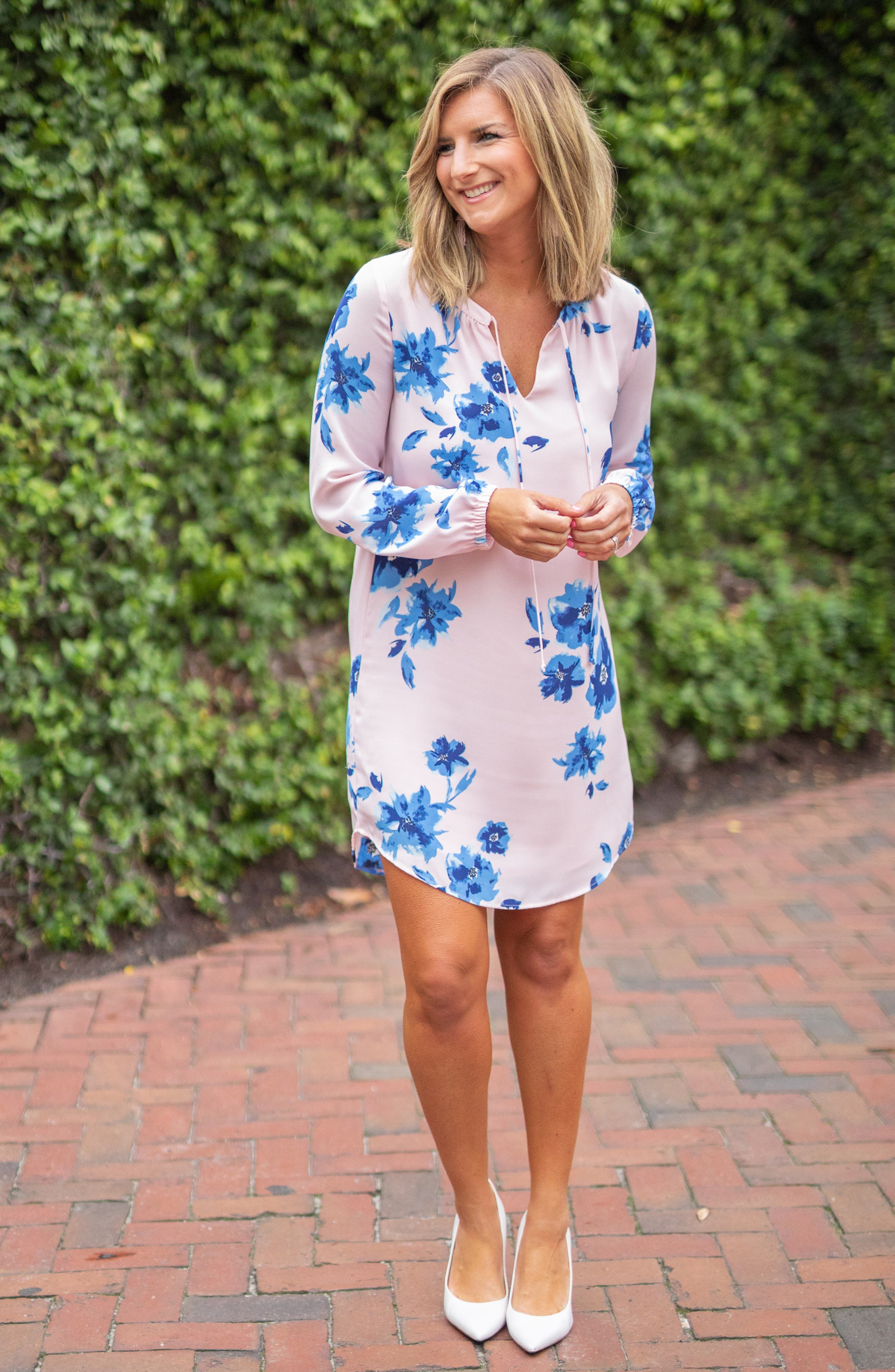 ,                             x Living in Yellow Holly Split Neck Long Sleeve Shirtdress,                             Alternate thumbnail 8, color,                             WATER FLORAL BLUSH
