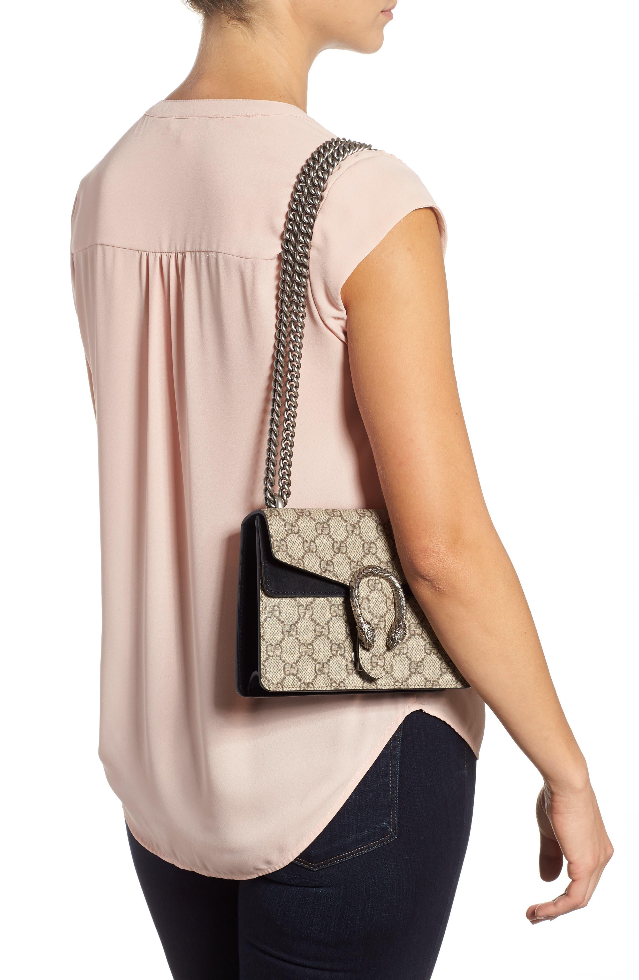 ,                             Mini Dionysus GG Supreme Shoulder Bag,                             Alternate thumbnail 2, color,                             BEIGE EBONY/ NERO