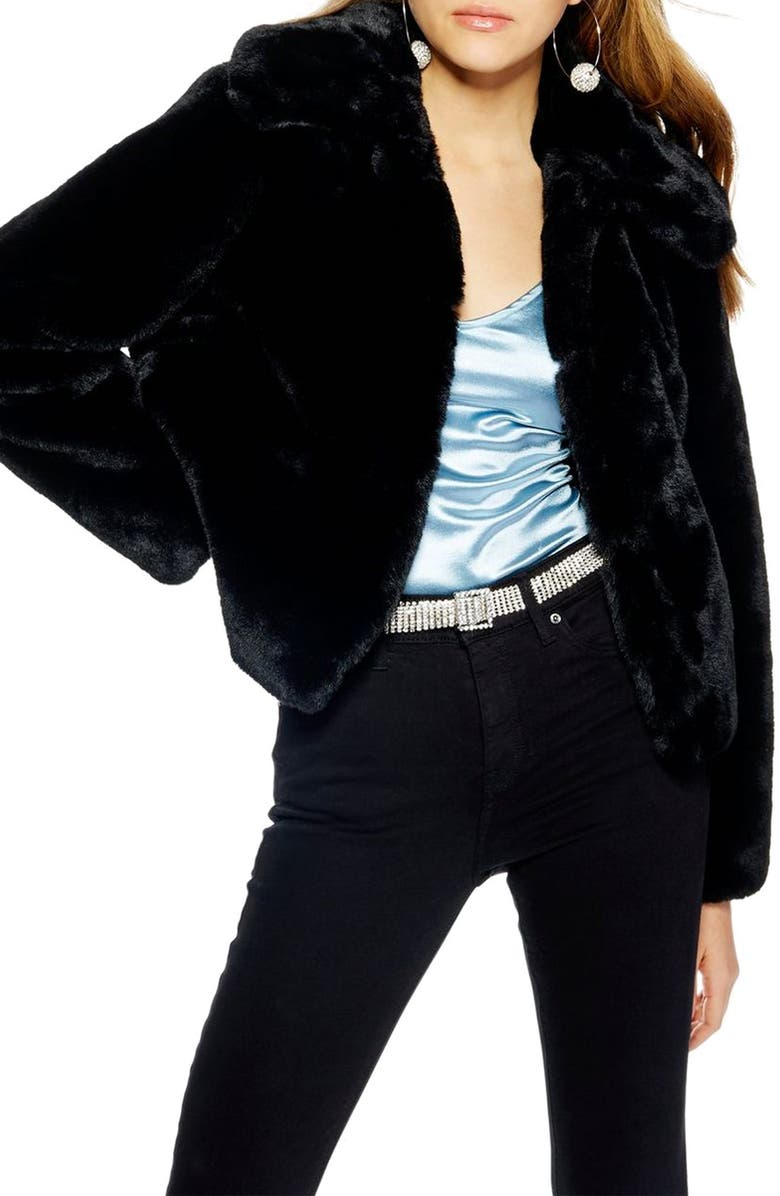 TOPSHOP Faux Fur Jacket, Main, color, 001