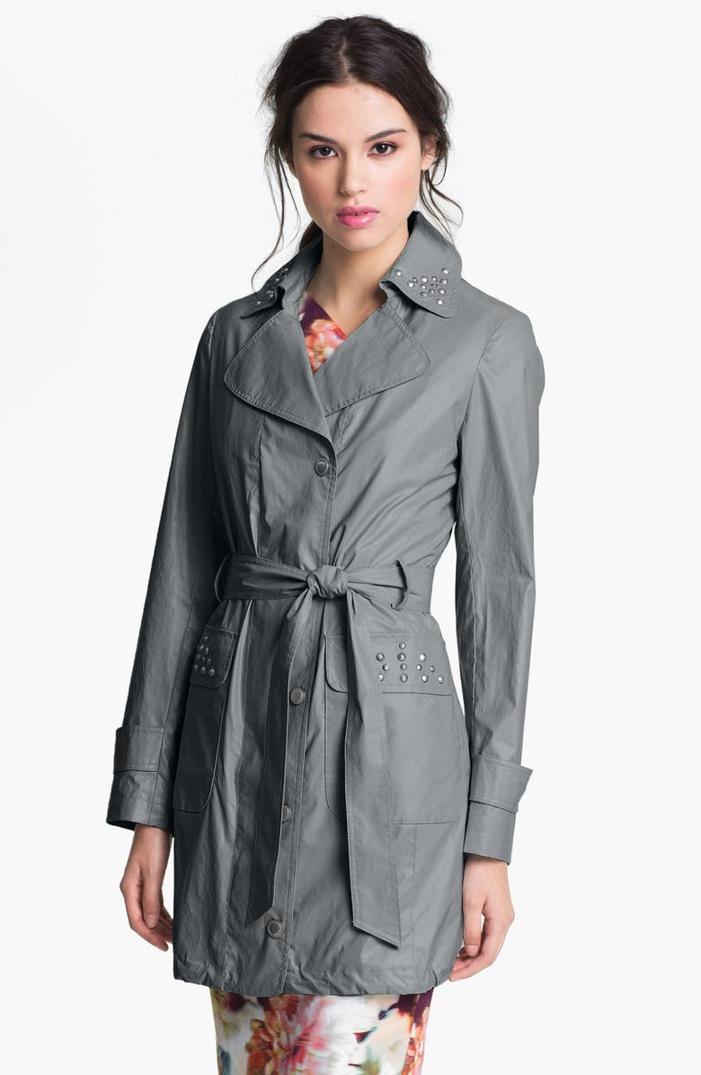VIA SPIGA Studded Faux Leather Trench Coat, Main, color, 020