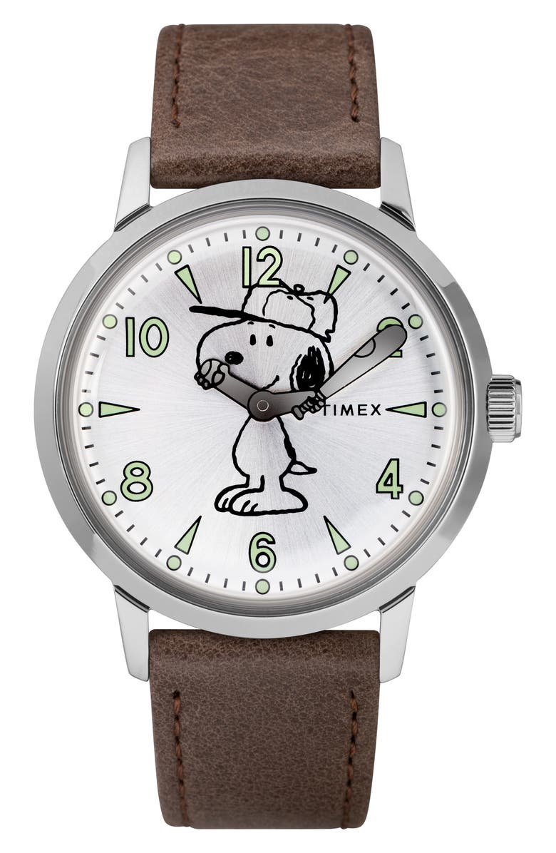 TIMEX<SUP>®</SUP> x Peanuts<sup>®</sup> Welton Vintage Snoopy Leather Strap Watch, 40mm, Main, color, 200