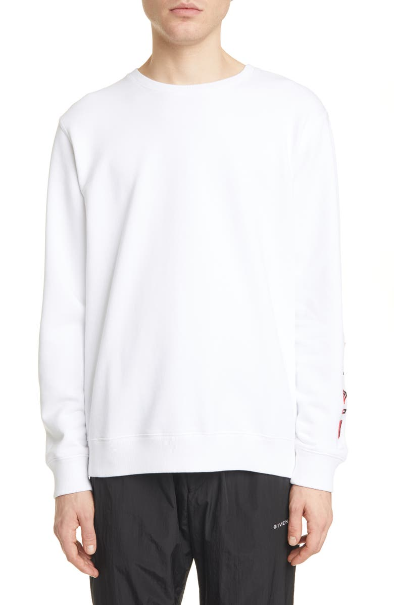 GIVENCHY Regular Fit Embroidered Sleeve Sweatshirt, Main, color, WHITE