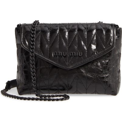 Miu Miu Small Trapuntato Quilted Calfskin Leather Shoulder Bag - Black