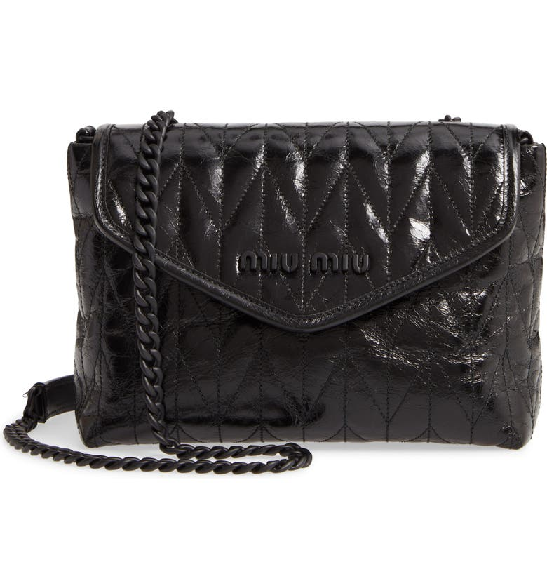 MIU MIU Small Trapuntato Quilted Calfskin Leather Shoulder Bag, Main, color, NERO