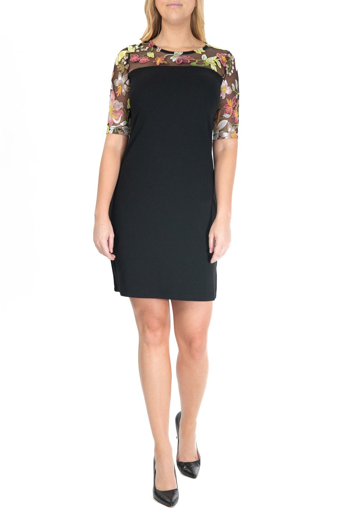 Image of Nina Leonard Embroidered Lace Yoke Dress
