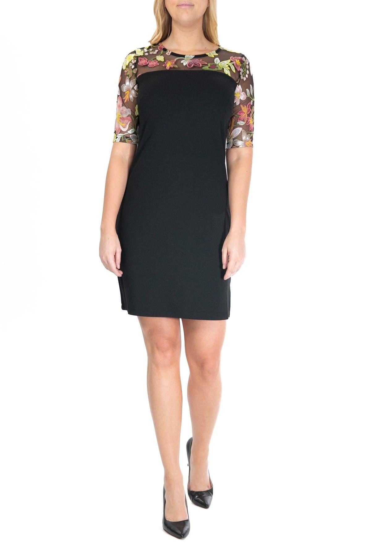 Image of Nina Leonard Embroidered Lace Yoke Dress