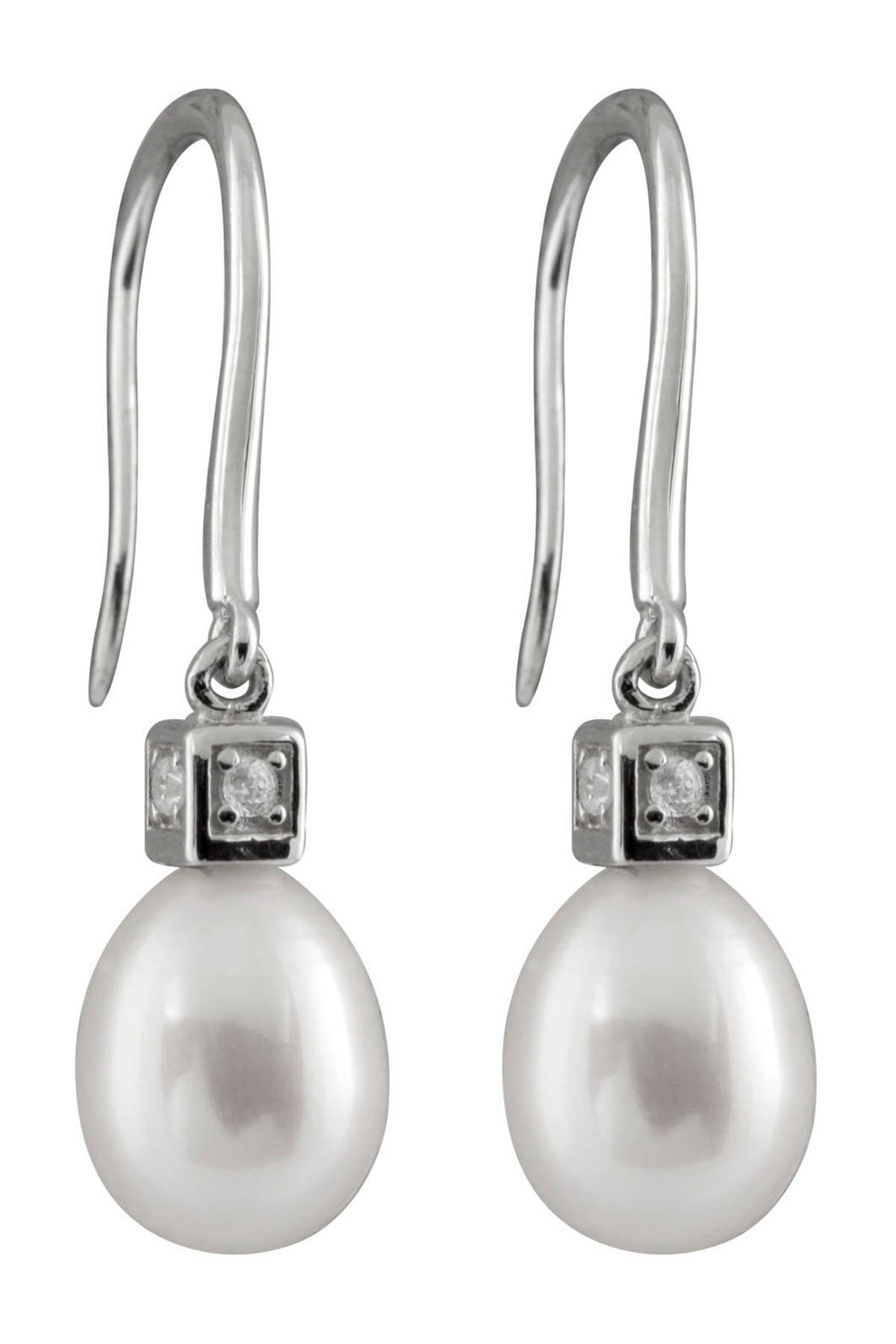 Image of Splendid Pearls 7.5-8mm White Freshwater Pearl & CZ Drop Earrings