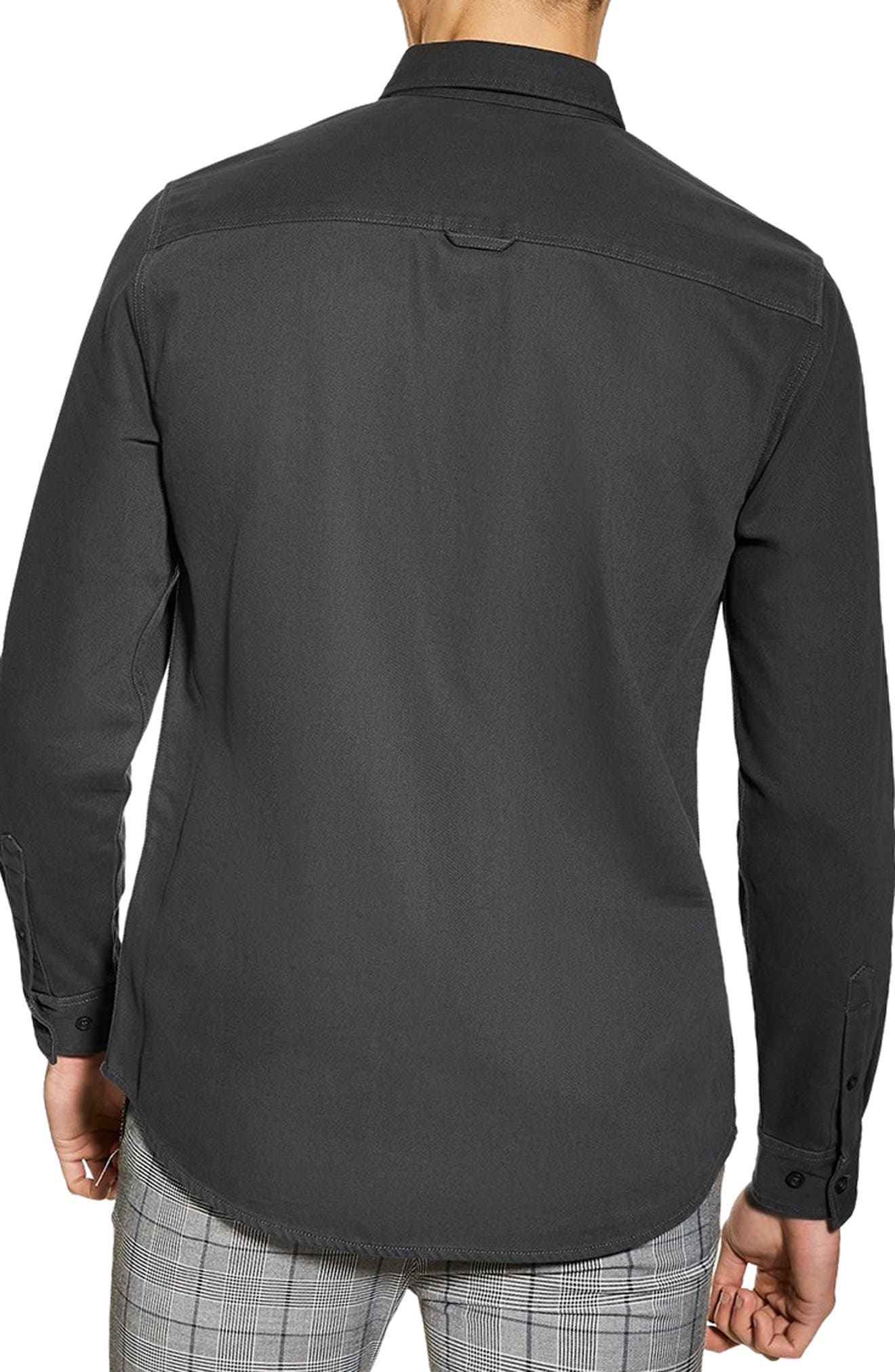 ,                             Twill Slim Fit Shirt,                             Alternate thumbnail 2, color,                             CHARCOAL